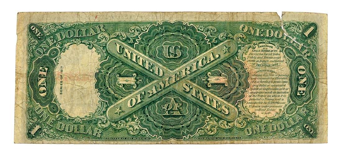 Nice 1917 $1 Red Seal Washington Legal Tender Note - 2
