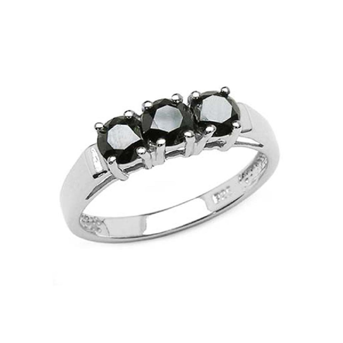 *Fine Jewelry 1.18CT Black Diamond And Sterling Silver