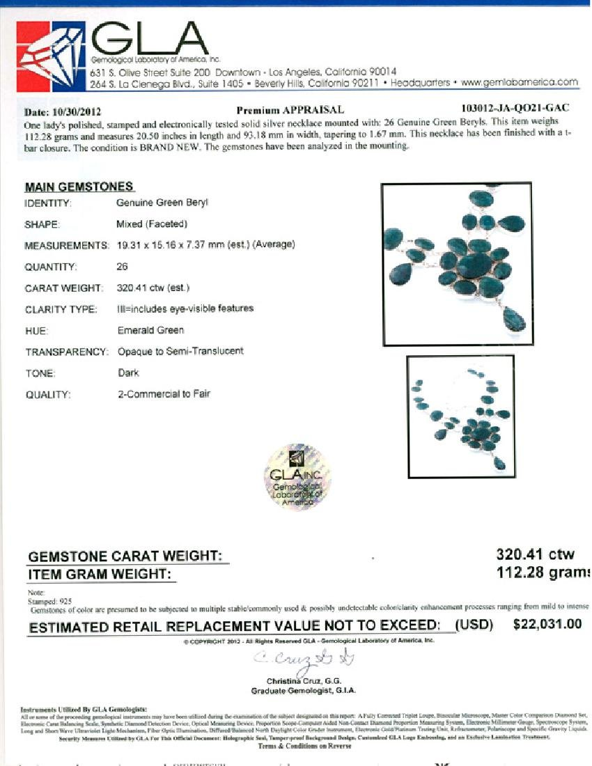 APP: 22k 320.41CT Mixed Cut Green Beryl and Sterling