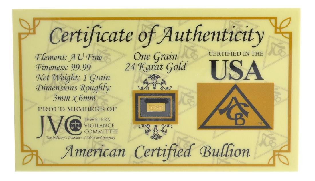 One Grain .9999 Fine 24 Karat Gold American Certified
