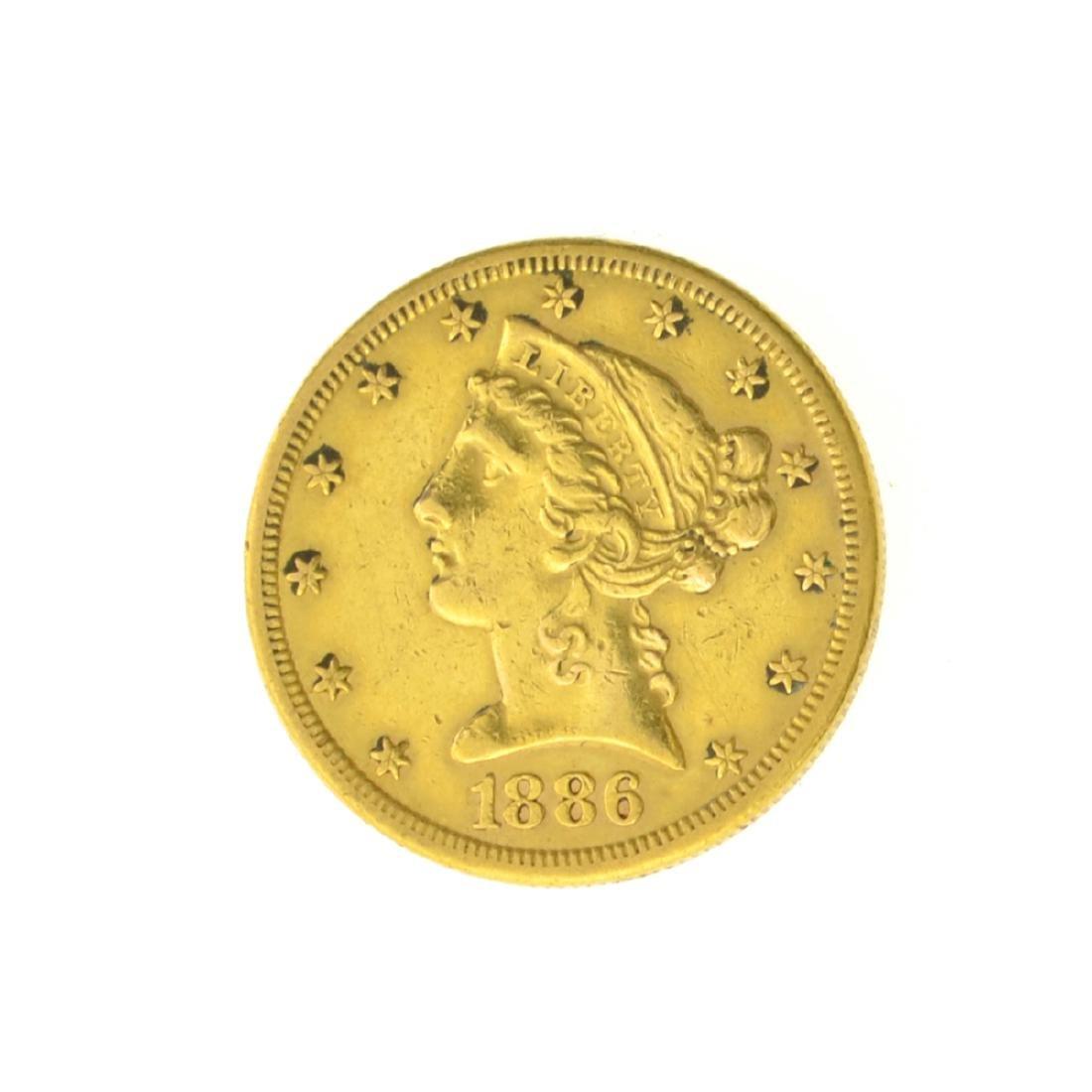 *1886-S $5.00 U.S. Liberty Head Gold Coin (JG)