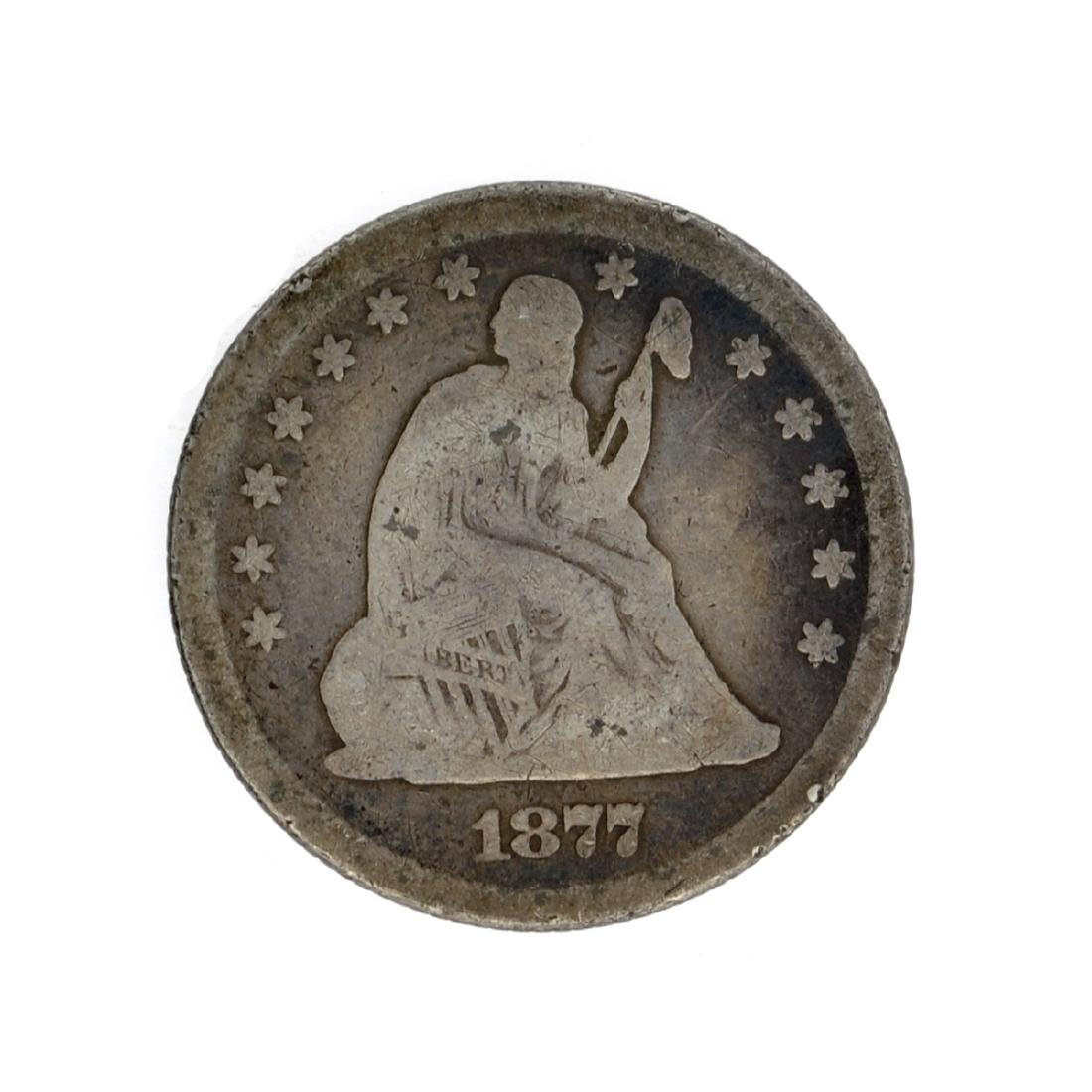 1877 Liberty Seated Quarter Dollar Coin
