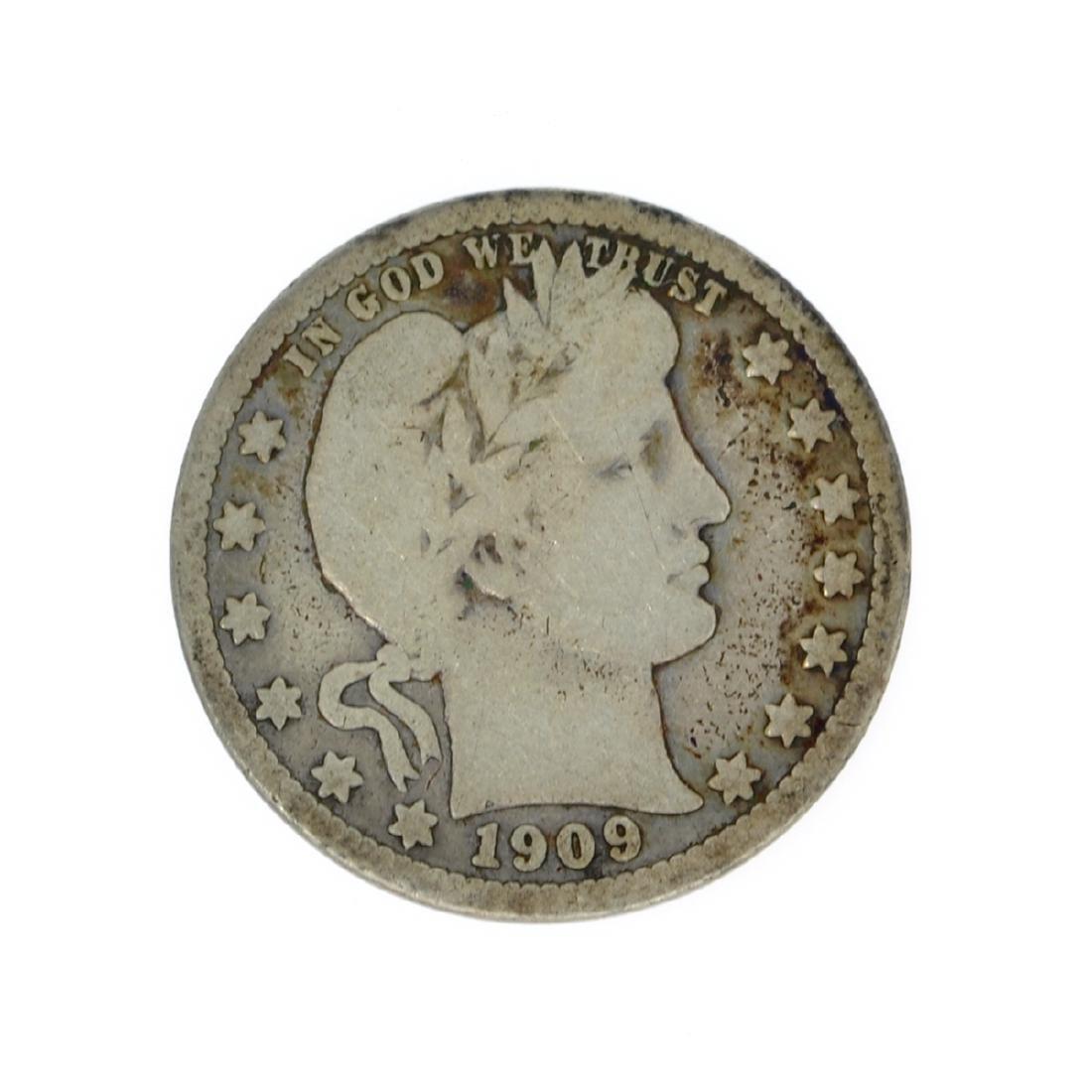 Rare 1909 Barber Quarter Dollar Coin