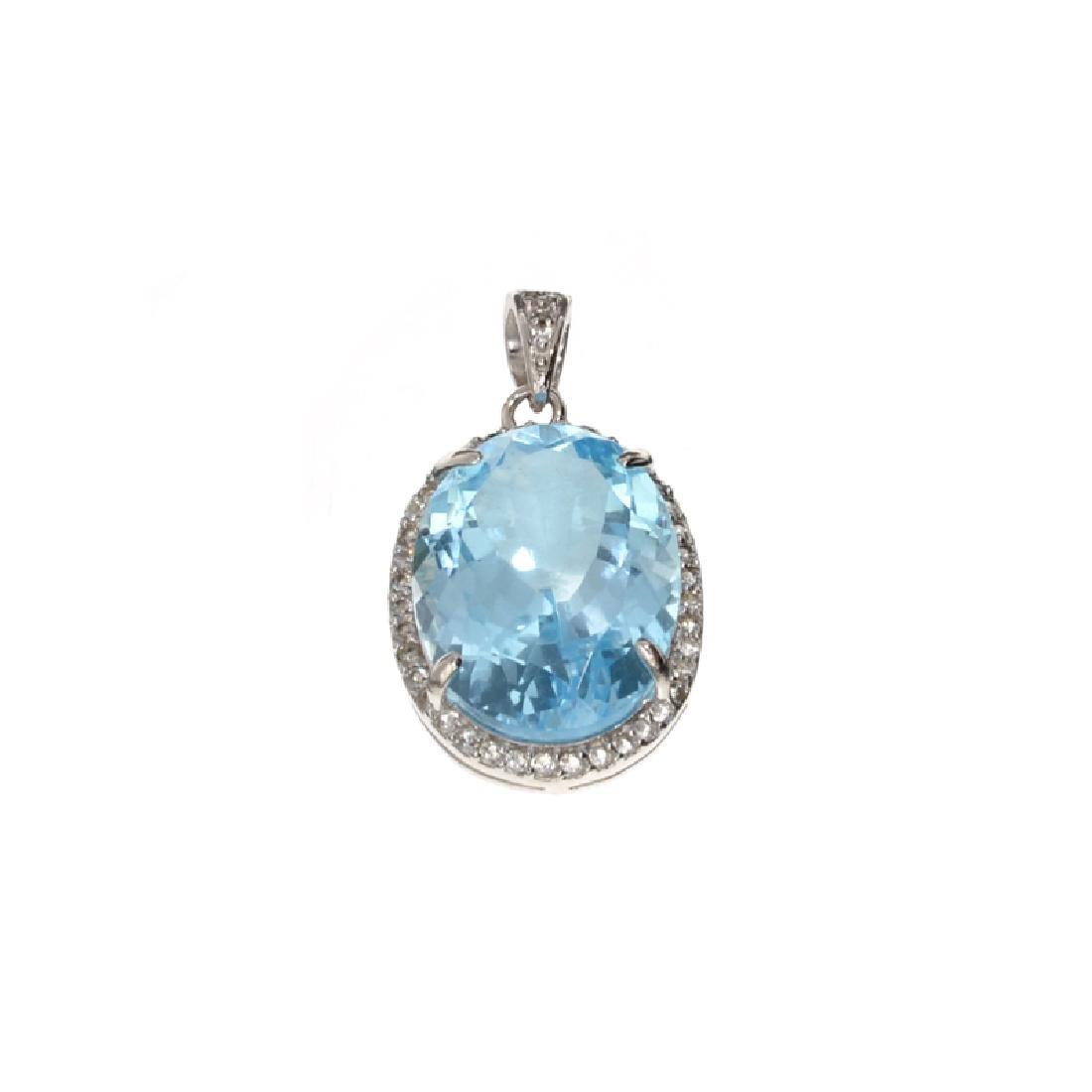 APP: 1.1k Fine Jewelry 14.30CT Blue Topaz And White