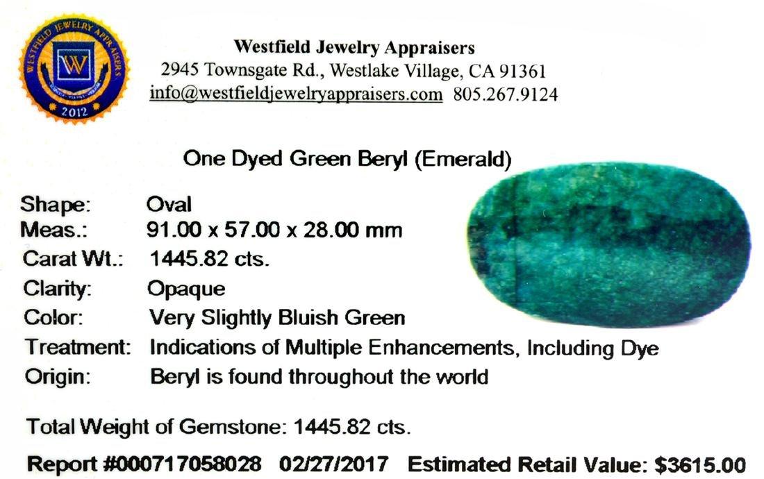 APP: 3.6k Very Rare Large Beryl Emerald 1,445.82CT - 2