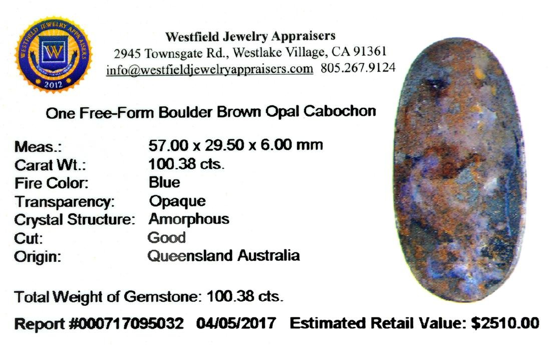 APP: 2.5k 100.38CT Free Form Cabochon Boulder Opal - 2