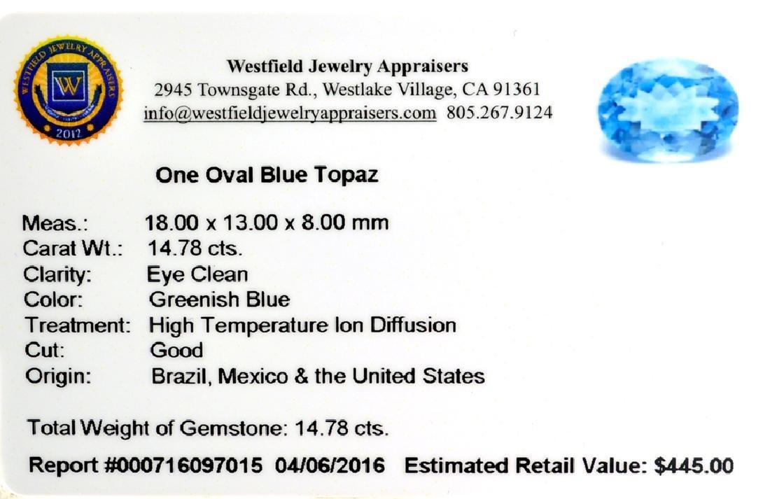 APP: 0.4k 14.78CT Oval Cut Blue Topaz Gemstone - 2