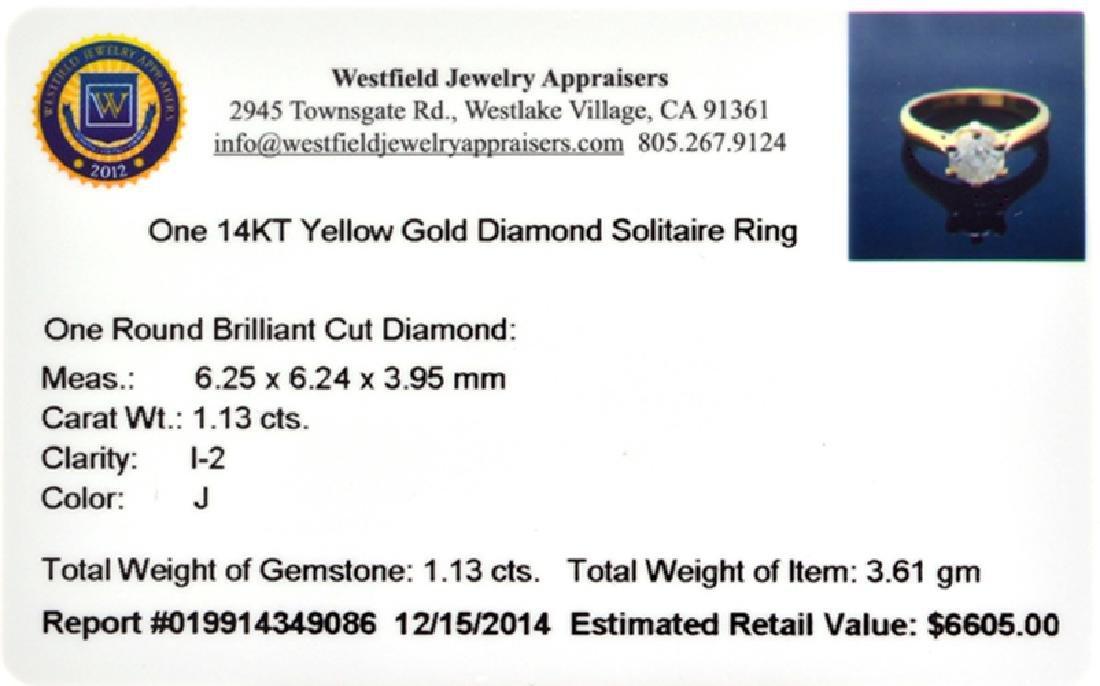 APP: 6.6k 14 kt. Gold, 1.13CT Round Cut Diamond Ring - 2