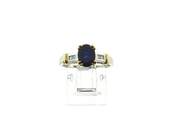 3013: GOV: 0.75CT Sapphire and 0.09CT Diamond Ring, INV