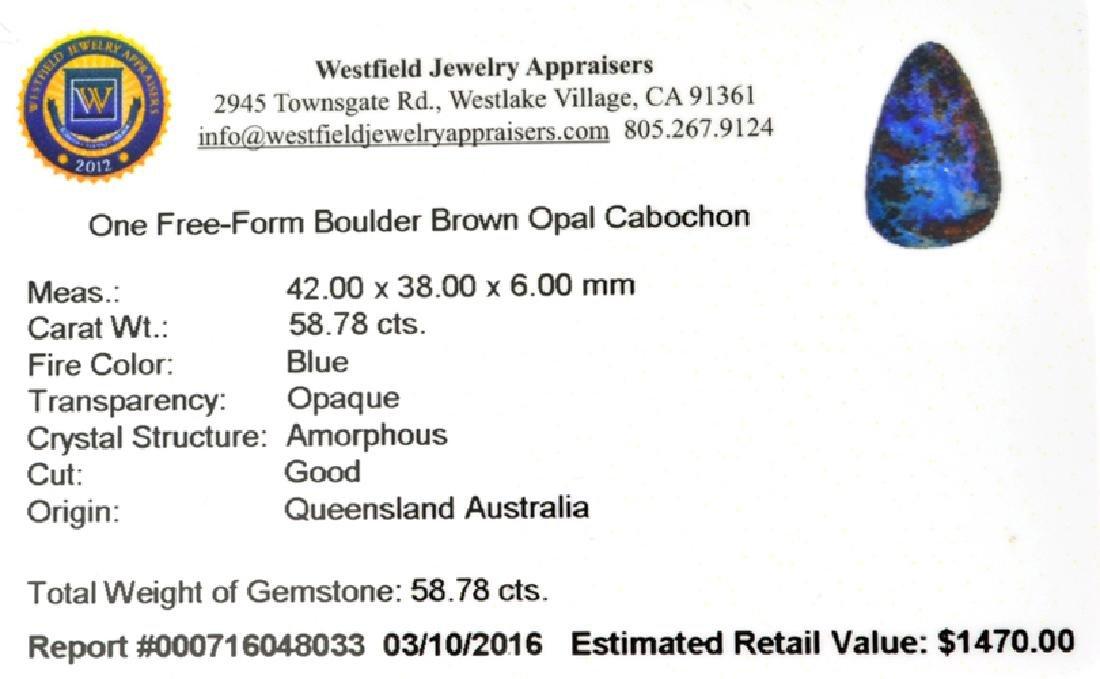 APP: 1.5k 58.78CT Free Form Cabochon Blue Boulder Brown - 2