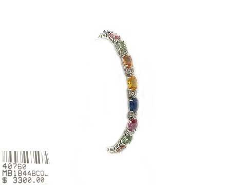 14: 14 kt. White Gold, Multi-Color Sapphire and Diamond