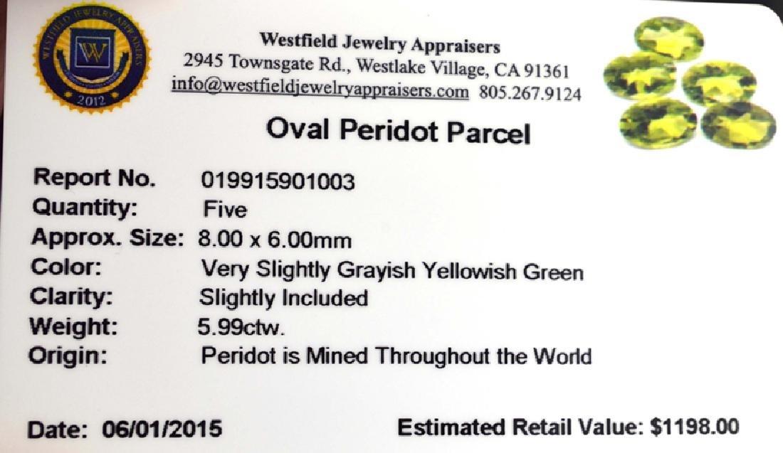 APP: 1.2k 5.99CT Oval Cut Green Peridot Parcel - 2