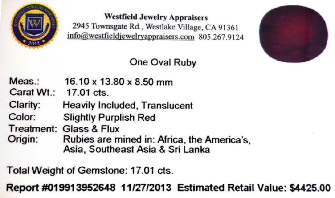 APP: 4.4k 17.01CTCT Oval Cut Ruby Gemstone - 3