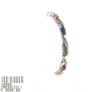 6006: GOV: 14 kt. White Gold, Multi-Color Sapphire and