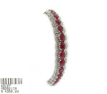 6010: GOV: 14 kt. White Gold, 12.60CT Ruby and 1.00CT D