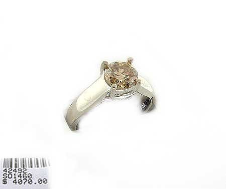 6022: 14 kt. White Gold, 1.25CT Canary Diamond Ring, IN