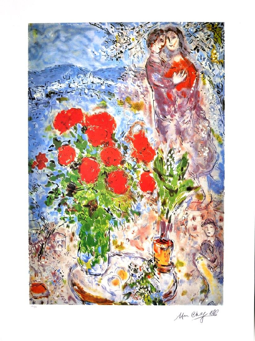 MARC CHAGALL (After) Red Bouquet with Lovers Print,