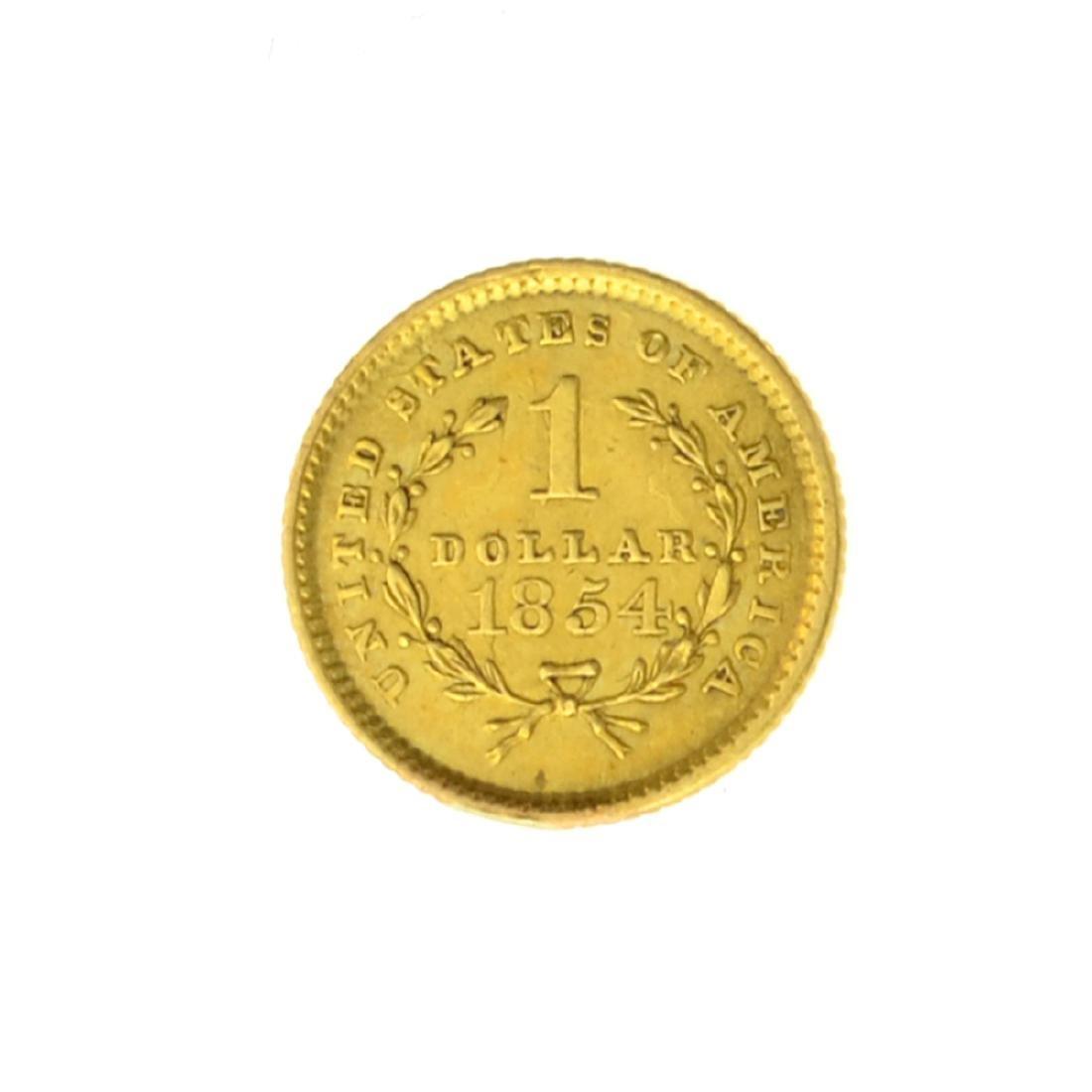 *1854 $1 U.S. Liberty Head Gold Coin (JG) - 2