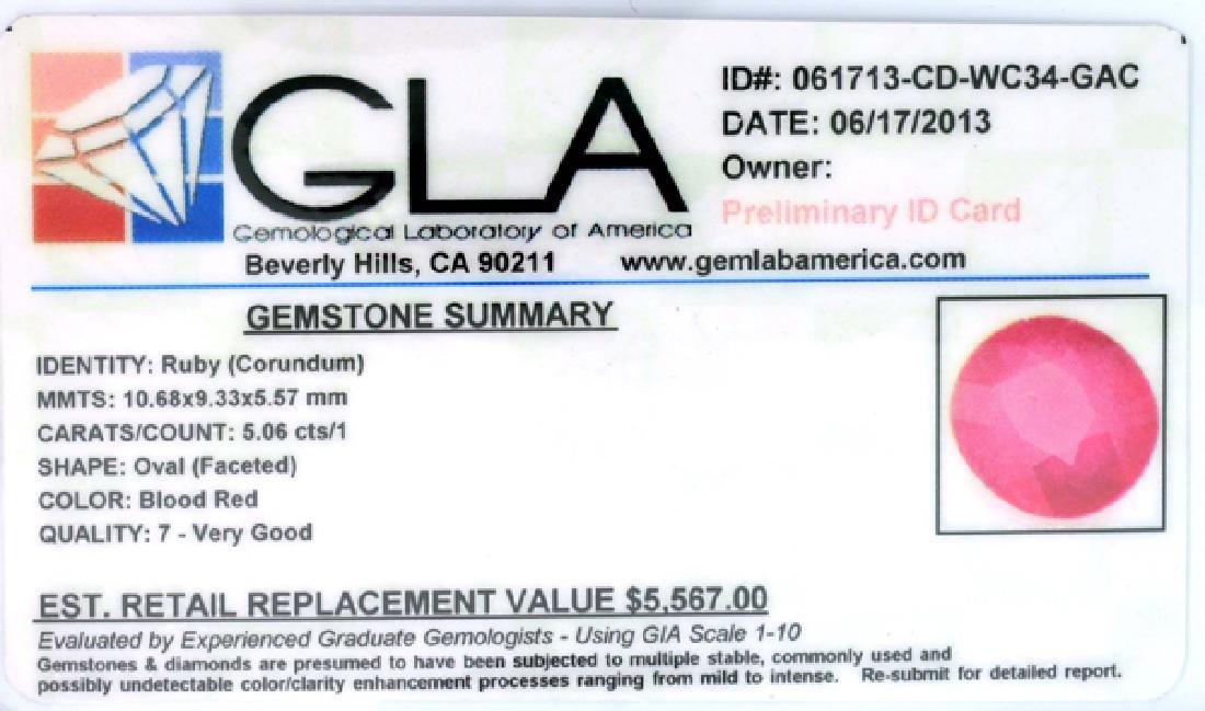APP: 5.6k 5.06CT Oval Cut Ruby Gemstone - 3