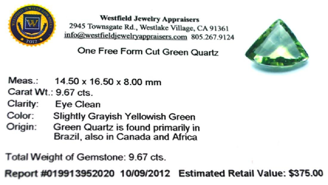 APP: 0.4k 9.67CT Free Form Cut Green Quartz Gemstone - 2