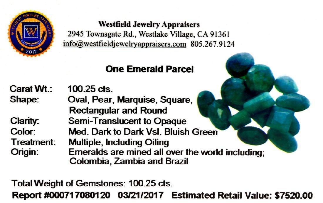 APP: 7.5k 100.25CT Various Shapes Green Emeral Parcel- - 2
