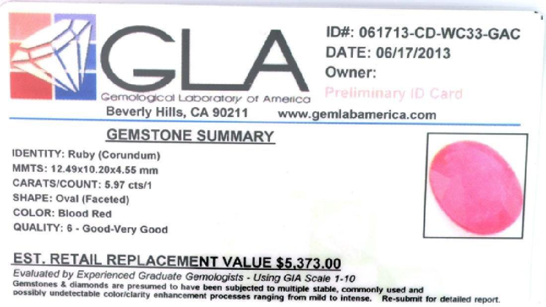 APP: 5.4k 5.97CT Oval Cut Ruby Gemstone - 3