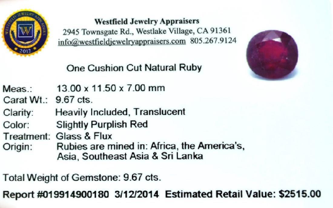 APP: 2.5k 9.67CT Cushion Cut Ruby Gemstone - 3