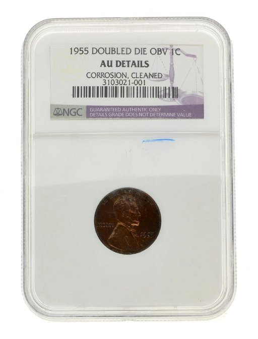 1955 Double Die OBV One Cent AU Details Cleaned Coin on LiveAuctioneers