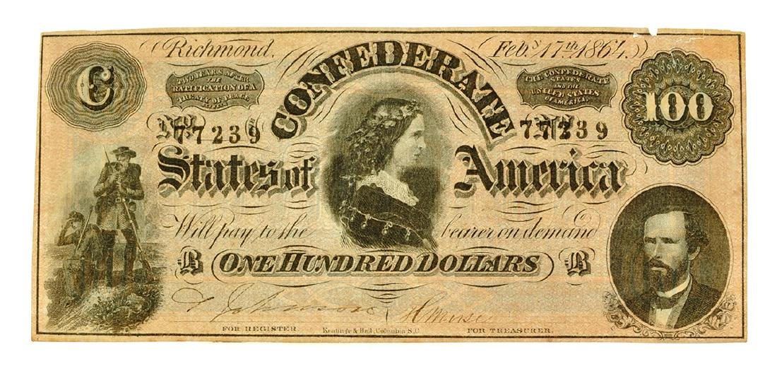 1864 $100 Famous Lucy Pickens Confederate Note