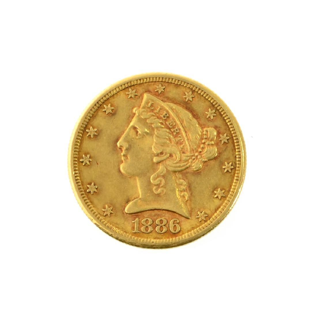 *1886-S $5 U.S. Liberty Head Gold Coin (PS-JWJ)