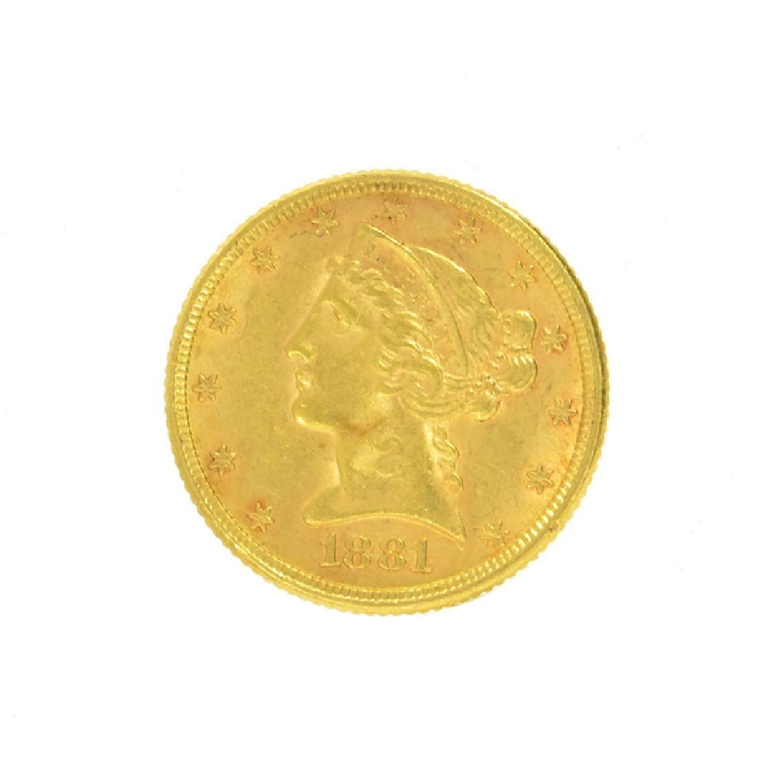*1881 $5 U.S. Liberty Head Gold Coin (DF)