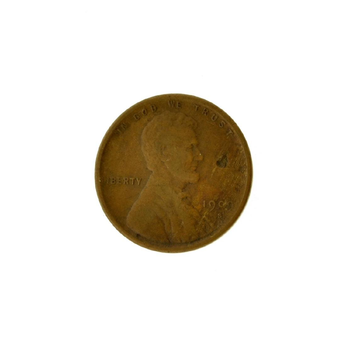 1909-S V.D.B. Lincoln Type, Wheat Ears Reverse One Cent