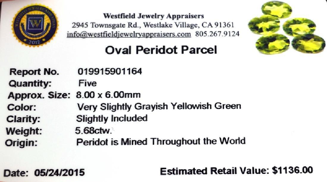 APP: 1.1k 5.68CT Oval Cut Green Peridot Parcel - 2