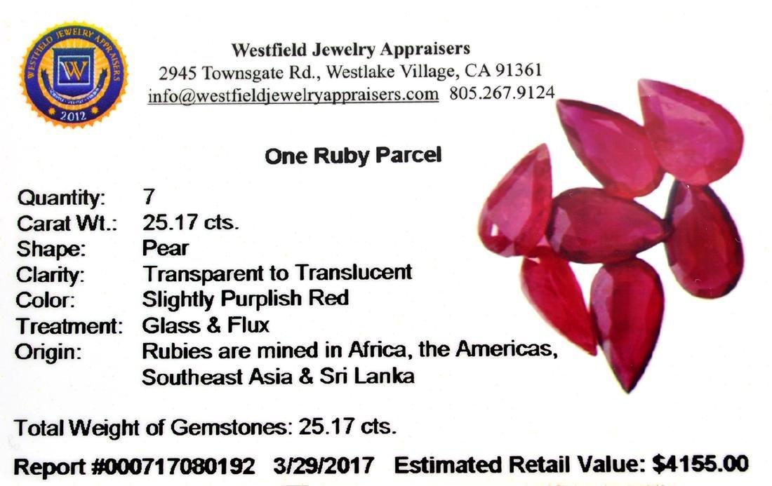 APP: 4.2k 25.17CT Pear Cut Ruby Parcel - 2