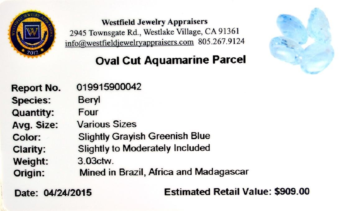 APP: 0.9k 3.03CT Oval Cut Aquamarine Parcel - 2