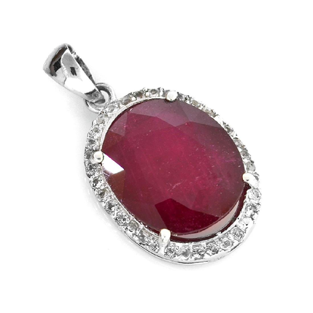 APP: 3.5k 7.55CT Ruby And Topaz Platinum Over Sterling