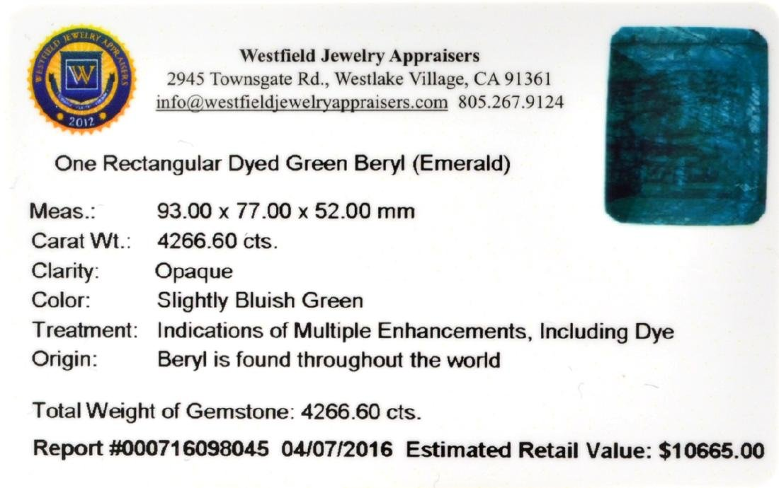 APP: 10.7k 4,266.60CT Rectangular Cut Green Beryl - 2