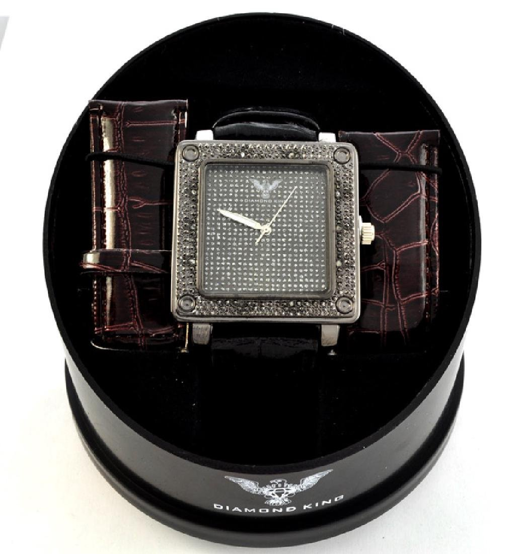 Diamond King Men's Square Stainless Steel and Diamond