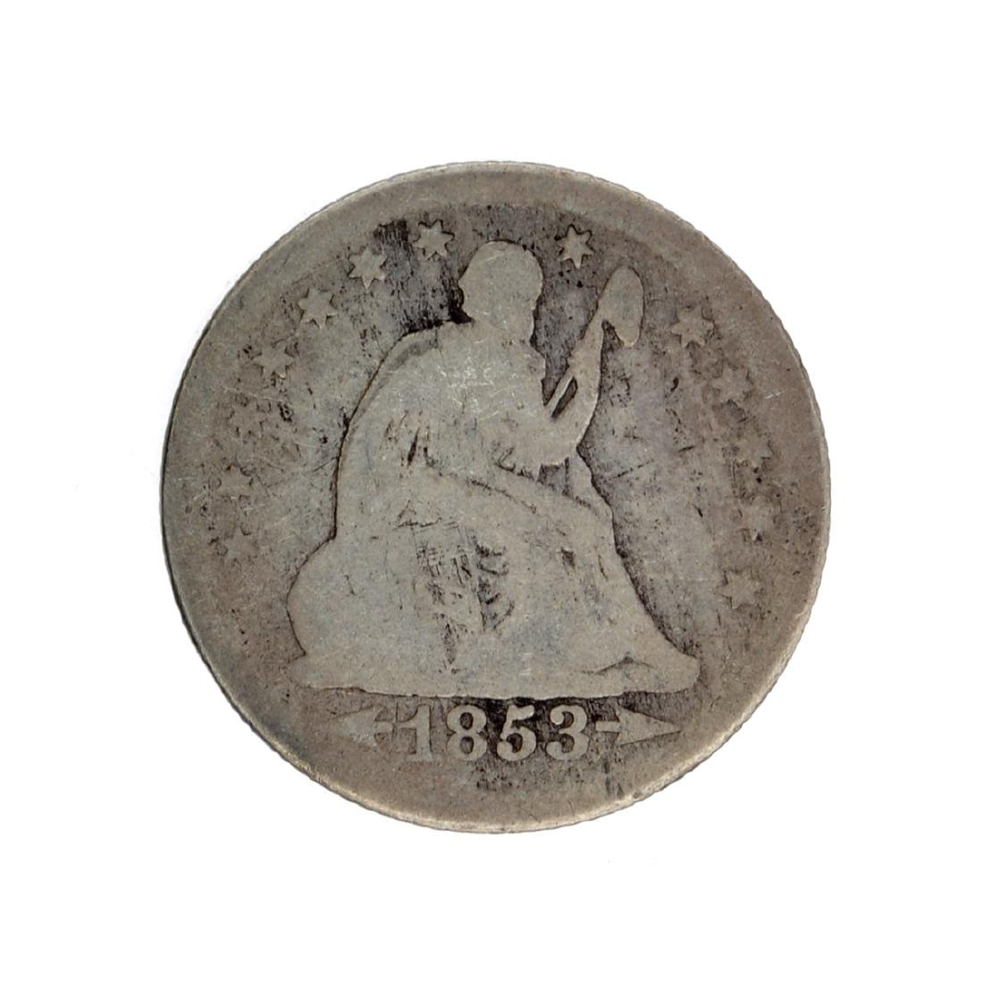 1853-O Liberty Seated Arrows At Date, Rays Around Eagle