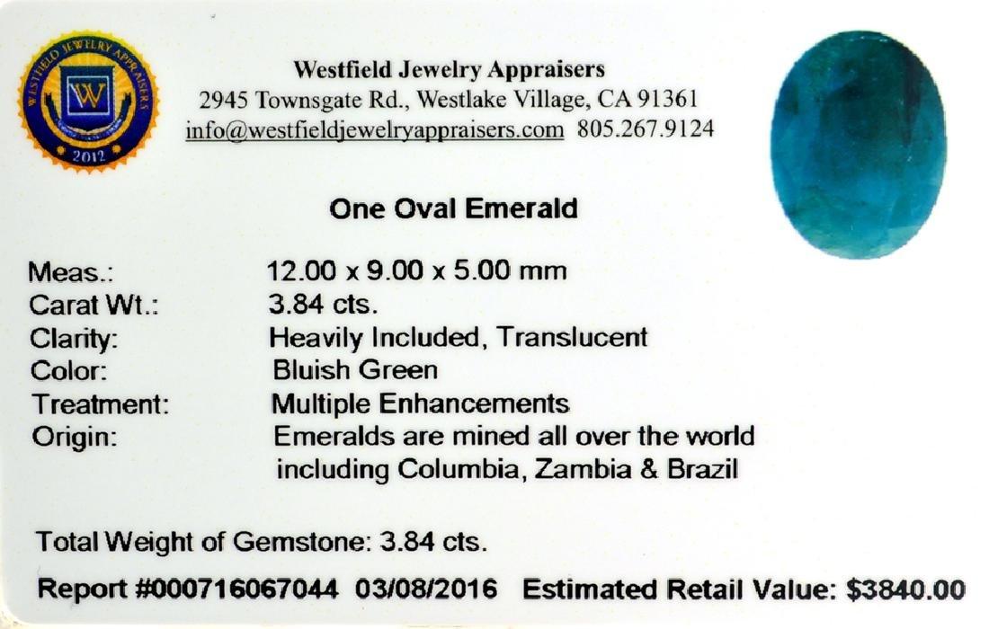 APP: 3.8k 3.84CT Oval Cut Green Emerald Gemstone - 2