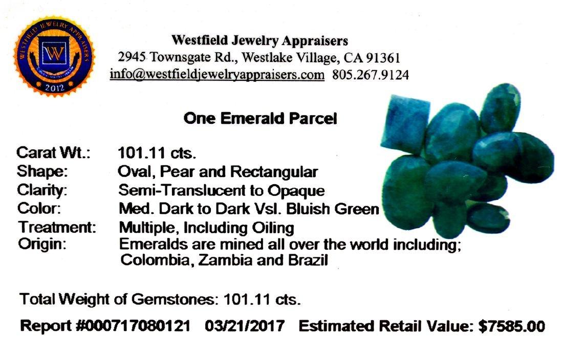 APP: 7.6k 101.11CT Various Shapes Green Emeral Parcel- - 2