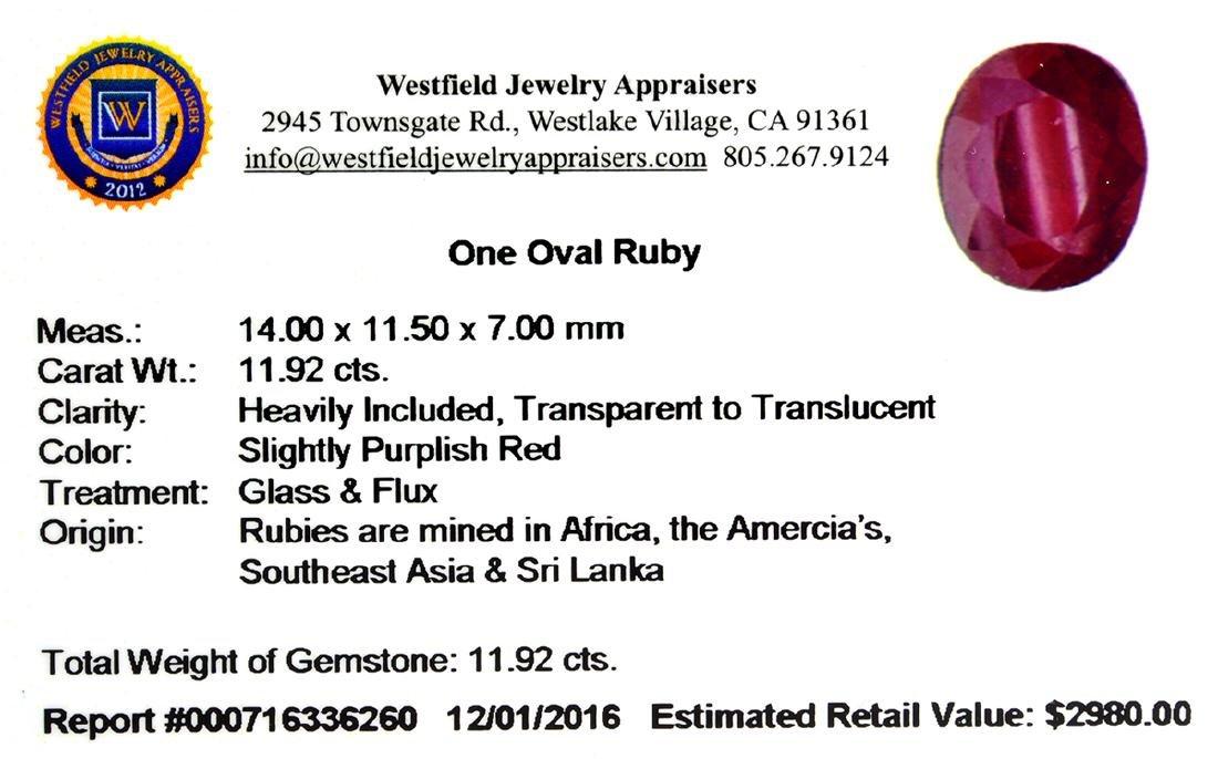 APP: 3k 11.92CT Oval Cut Ruby Gemstone - 2