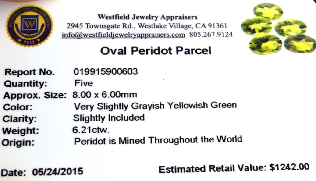 APP: 1.2k 6.21CT Oval Cut Green Peridot Parcel - 2