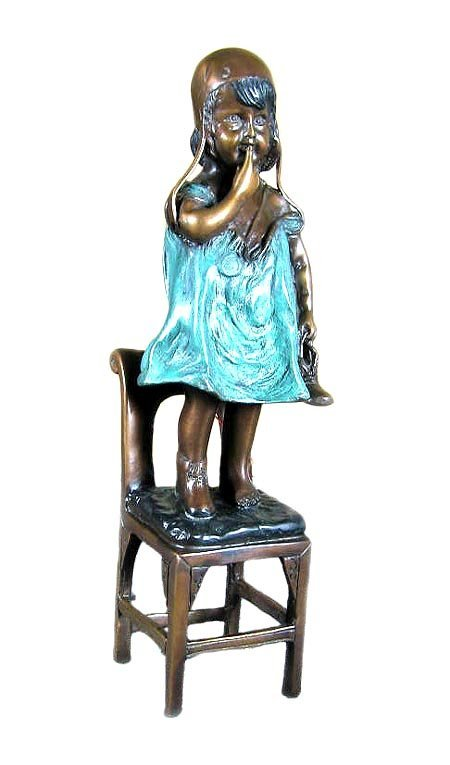 704: Investment Quality Bronze: Standing Girl on Chair