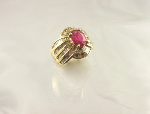 712: APP.: $19.5K, 2.15CT Ruby and 1.80CT Diamond Ring,