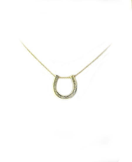 729: 14 kt. Gold, 0.81CT Diamond Horseshoe Necklace, IN