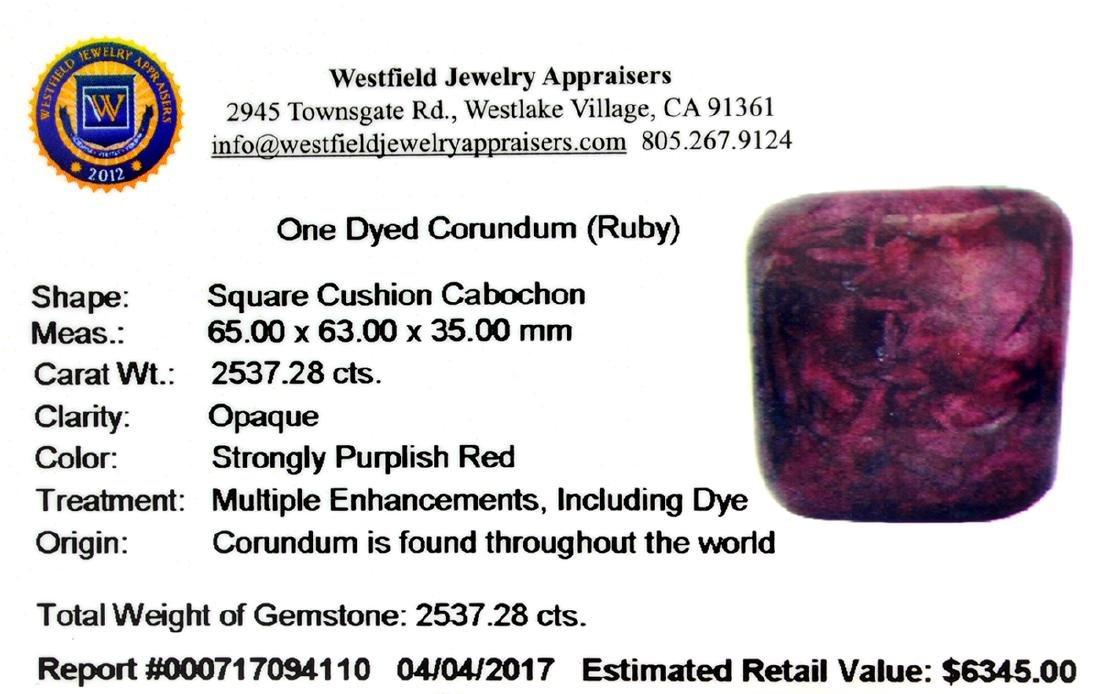 APP: 6.3k 2,537.28T Square Cushion Cut Cabochon Ruby - 3