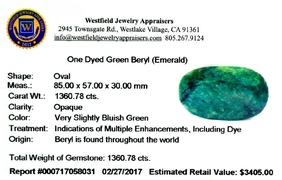 APP: 3.4k Very Rare Large Beryl Emerald 1,360.78CT - 2