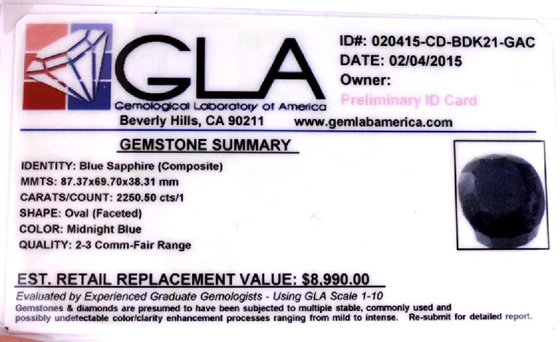 APP: 9k 2250.50CT Oval Cut Blue Sapphire Gemstone - 3