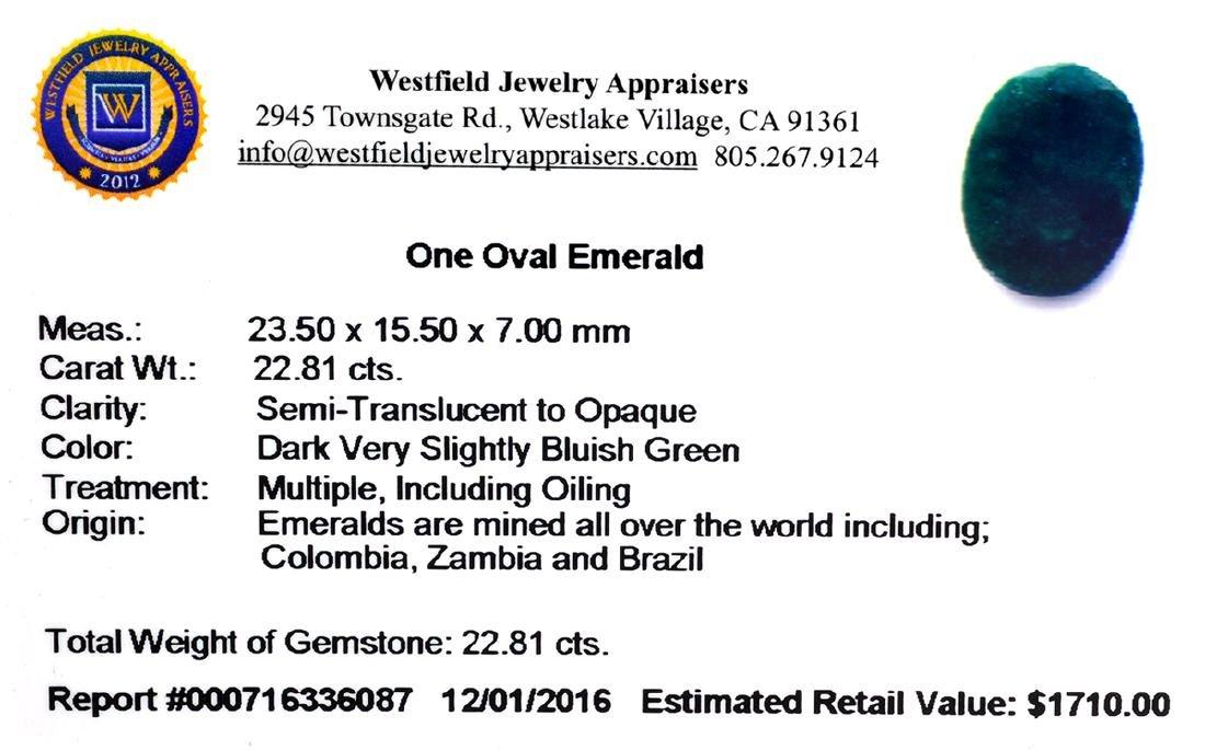 APP: 1.7k 22.81CT Oval Cut Green Emerald Gemstone - 2